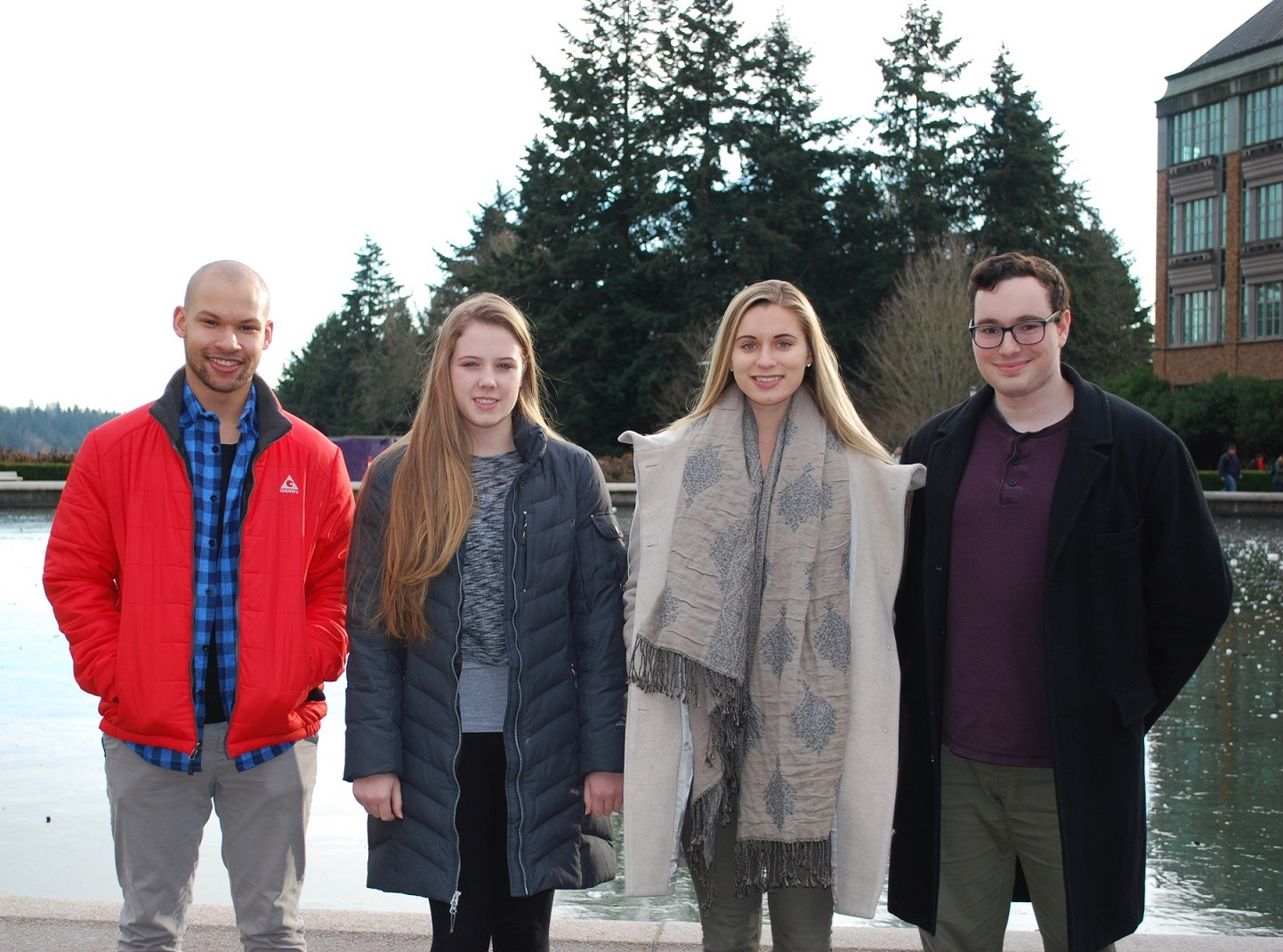 4 Sedlock icon Scholars posing in front of Drumheller Fountain: Julia Bauman, Camille Birch, Tyler Valentine, and Yotam Ofek